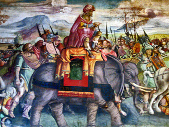 Hannibal in Italy, Fresco, Jacopo Ripanda (attr.), Beginning of 16th century Musei Capitolini, Rome, Italy: Image and related text courtesy of Wikipedia at en.wikipedia.org/wiki/Elephant.