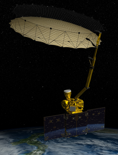 Artist's rendering of NASA's Soil Moisture Active Passive (SMAP) spacecraft in orbit.: NASA's next mission to study Earth is a soil moisture mapper known as SMAP (Soil Moisture Active Passive). Data from SMAP will be used to enhance understanding of processes that link the water, energy and carbon cycles, and to extend the capabilities of weather and climate prediction models including improved flood prediction and drought monitoring capabilities. Image Courtesy of NASA