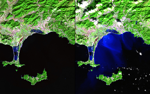 "In mid-January 2014, unusually heavy rain in southeast France led to flooding, landslides and: evacuations. Up to 20 centimeters (8 inches) of rain fell over three days, far exceeding the typical monthly totals. These images show the area around Hyères, along with the Giens Peninsula and nearby islands. The bright blue colors in the right-hand image show the flow of sediment-rich floodwaters into the Mediterranean Sea. Images taken by the Operational Land Imager onboard Landsat 8. Source: U.S. Geological Survey (USGS) Landsat Missions Gallery""Effects of Flooding: Hyères, France,"" U.S. Department of the Interior / USGS and NASA."