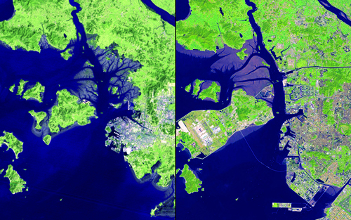 "The shoreline area of Incheon, South Korea, has changed dramatically over the past 32 years.: Marsh areas have been turned into usable land and urban development has expanded. Islands have been connected to accommodate Incheon International Airport, which opened in 2001 and is now one of the largest and busiest in the world. The new Incheon Bridge (also called the Incheon Grand Bridge), which opened in October 2009, is visible in the 2013 image. Images taken by the Multispectral Scanner onboard Landsat 2 and the Operational Land Imager onboard Landsat 8. Source: U.S. Geological Survey (USGS) Landsat Missions Gallery ""32 Years of Change: Incheon, South Korea,"" U.S. Department of the Interior / USGS and NASA."