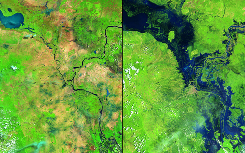"In October 2013, Typhoon Nari followed heavy seasonal rains to create substantial flooding along the Mekong and Tonlé Sap Rivers: in Cambodia. The flood affected more than a half million people, and more than 300,000 hectares (about three-quarters of a million acres) of rice fields are believed to have been destroyed. The capital city of Phnom Penh is just south of the image center. Images taken by the Operational Land Imager onboard Landsat 8. Source: U.S. Geological Survey (USGS) Landsat Missions Gallery""Flooding in Cambodia,"" U.S. Department of the Interior / USGS and NASA."