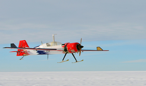 The UAS lands in Antarctica. The small but agile UAS has a takeoff weight: of about 38.5 kilograms (85 pounds) and a range of approximately 100 kilometers (62 miles). The compact radar system weighs only two kilograms, and the antenna is structurally integrated into the wing of the aircraft. Photograph by the University of Kansas and courtesy of NSF