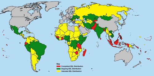 The Social Science Library project map:: The Social Science Library project will send free research and teaching materials to university libraries, institutions and organizations in the 138 countries shown on this map. The project is seeking Distribution Partners in all of the countries marked in yellow or green.
