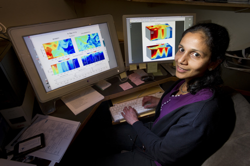 Oceanographer Amala Mahadevan with a model showing the role of eddies in the bloom.: Photograph courtesy of WHOI