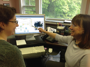 Scientist Mary Jane Perry (right), educator Carla Companion with a webinar on the bloom.: Photograph courtesy of Annette deCharo