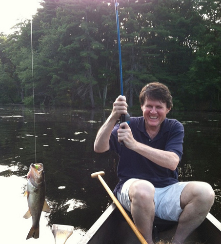 John Briscoe catching fish.: Photograph courtesy of SIWI.