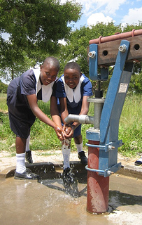 "The ""B"" type Zimbabwe Bush Pump at a secondary school.: Photograph by PRM"