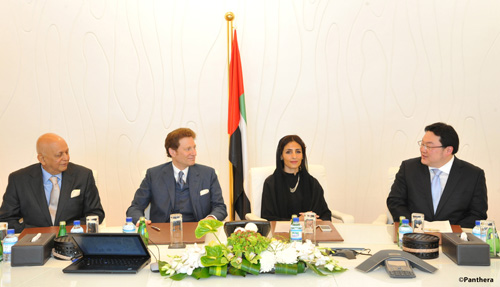 Mr. Hemendra Kothari, Dr. Thomas Kaplan, Her Excellency Razan Khalifa Al Mubarak, and Mr. Jho Low (left to right): announce a new global alliance in Abu Dhabi committing $80 million to conserve the world's wild cats and their ecosystems. Photograph courtesy of Panthera.