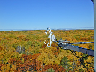A sonic aerometer for monitoring gas exchange between the forest and the atmosphere.: Photograph by Chris Vogel