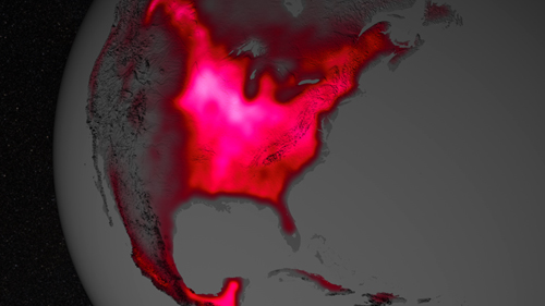 The magnitude of fluorescence portrayed in this visualization prompted researchers to take a closer look at the productivity of: The glow represents fluorescence measured from land plants in early July, over a period from 2007 to 2011. Image Credit:  NASA's Goddard Space Flight Center