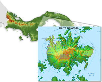 Map marking the location of Barro Colorado Island, Panama.: Photograph courtesy of STRI