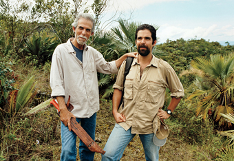 Roberto Antonio Pedraza Muñoz with his son Roberto Pedraza Ruiz, both work in GESG's Land: Conservation program.  Photograph by Ewan Burns