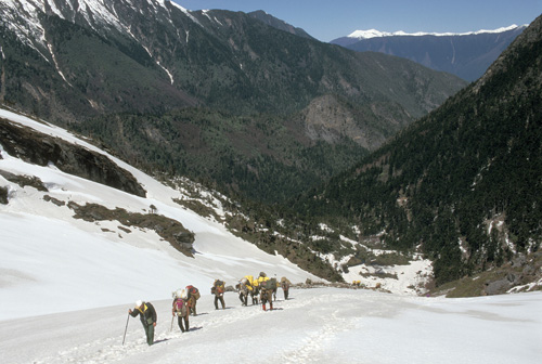 Porters climb toward a pass, the Doxiong La, across which lies the 'hidden land' of Pemako in southeastern: Tibet. Photograph from Tibet Wild by George B. Schaller. Reproduced by permission of Island Press.