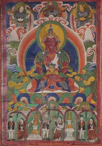 Tankas, also known as thangkas, are hanging scrolls or fabric temple banners that consist of a painted: picture panels (called mélong in Tibetan, which means 'mirror'), usually depicting buddhas, mandalas, or great practitioners, which are sewn into or bordered by a textile mountings. Tankas are intended to serve as records of, and guides for, contemplative experiences and visualizations. From the Beinecke Rare Book and Manuscript Library, Yale University